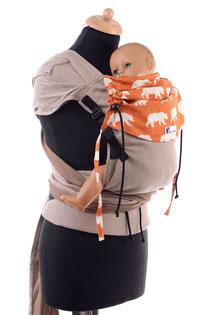 Huckepack Wrap Tai, Babytrage aus Tragetuchstoff mit auffächerbaren Trägern und stabilem Hüftgurt mit Schnalle