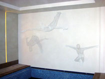 Divers in Stages. 2008. (Indoor pool setting) Wire mesh. 200 x 400 x 150cm. Private Commission. © Charles Rocco  On site installation.