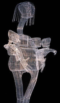 Full Up. 2000. Wire mesh, river stones. 220 x 60 x 50cm. Owned by the artist. © Charles Rocco