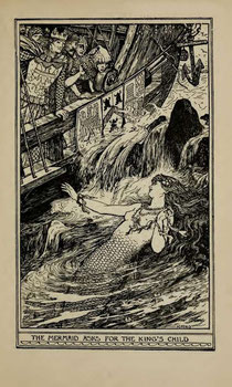 black and white illustration of mermaid