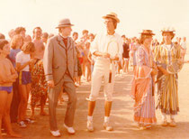 Showkampf zum 80. Tennisturnier 1979: 2.v.l Andreas Huber, 4.v.l Christina Schwechten, Tochter des damaligen Turnierdirektors Quelle: Privat Andreas Huber