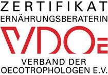 Zertifikat Ernährungsberaterin durch den VDOE