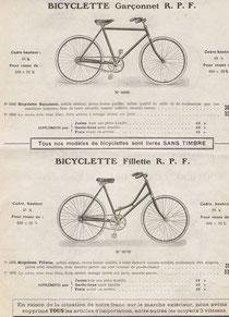 Katalogblatt RPF von 1922, Fahrräder für Kinder und Jugendliche