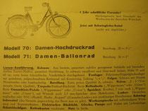 Katalogblatt der Firma Rixe von 1935 mit einem Damen-Ballonrad