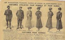 Katalogblatt Manufrance 1910, Kleidung für Fahrradfahrer und -innen