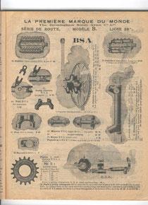 Katalogblatt Décosse 1907. Fahrradteile des Herstellers B.S.A.