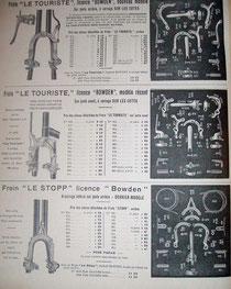 Katalogblatt RPF 1909, Bremsen der Firma Bowden