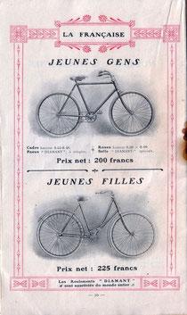 Katalogblatt La Francaise Diamant von 1908, Räder für Kinder und Jugendliche