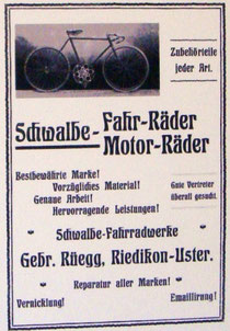 Werbeanzeige der Firma Rüegg in Riedikon-Uster, um 1905**