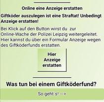 Direkt aus der HundeAppGO heraus online eine Anzeige wegen des Auslegens von Giftködern erstatten!