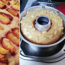 Blechkuchen mit Nektarienen und Gugelhupf aus dem Omnia