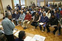 復興方針案について住民の意見を聞いた公聴会=22日午前10時ごろ、女川町の塚浜・小屋取集会所