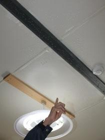【三浦さん方の寝室天井に発生している結露=石巻市鹿又、役場前地区応急仮設住宅団地】