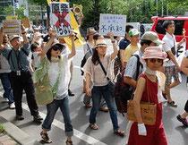 脱原発を訴えるデモ参加者=札幌市中央区で2011年8月21日午後2時過ぎ、伊藤直孝撮影