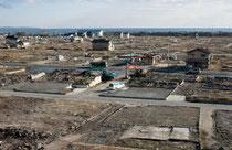 被災市街地復興推進地域に指定された石巻市の門脇町、南浜町地区=9日