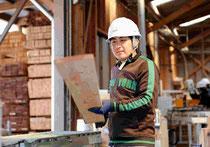 木材加工工場で働く佐々木輝昭さん。仮設住宅用に木材を加工する=岩手県住田町世田米、野崎写す