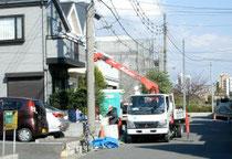 液状化被害で傾いた家を補修する工事(千葉県浦安市)