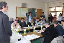 宮城県女川町が開いた復興計画策定委員会の初会合=1日、女川町災害対策本部