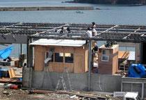 学生が建築した番屋=17日、宮城県南三陸町歌津の田の浦漁港