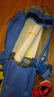 Rucksack with sea charts & harbor books