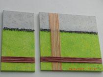 Grünstreifen, 2-teiliges Acrylbild ca. 90 x 60 cm