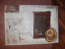 Nr. 3, Acrylbild mit Holzscheiben, ca. 50 x 70 cm