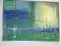 blaues Erwachen, Acrylbild, ca. 50 x 70 cm mit ALU-Rahmen