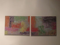 Farbmuster, zwei Acrylbilder, jeweils ca. 30 x 40 cm