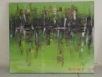 Chaos in Grün, Acrylbild 50 x 70 cm