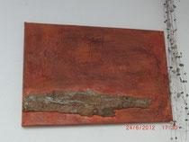 Vesuv, Acylbild mit Rindenteil ca. 60 x 40 cm