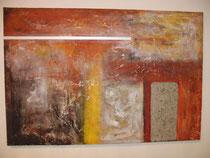 Nr. 1, Acrylbild mit Edelstahlstreifen und Betonplatte, ca. 70 x 105 cm