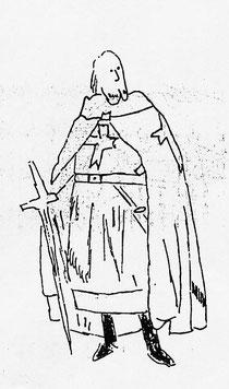Disegno raffigurante un monaco templare