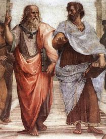 プラトンとアリストテレス:School of Athens(アテネの学堂)から 出典 Wikipedia Commons(クリックで拡大)