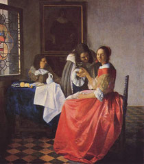 The girl with a wineglass.(Jan Vermeer) 出典 Wikipedia commons クリック拡大してお楽しみください