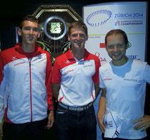 Wilhelm Lilge betreut auch Sportler von anderen Vereinen erfolgreich. Hier mit 2 seiner Schützlinge bei der EM 2014 in Zürich, Andreas Vojta (1500m) vom team2012.at und Christian Pflügl (Marathon) vom SK Voest