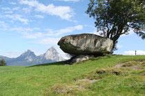 Druidenstein mit den kleinen und großen Mythen im Hintergrund (Foto: E. Klein)