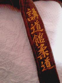 Ein Judogürtel mit den japanischen Schriftzeichen 'Kodokan Judo'
