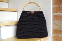 Trapeztasche Textilgarn schwarz