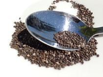 Chia Samen sind sehr kleinkörnig
