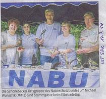 Unser Stand in der Volksstimme Schönebeck vom 14. Juli 2014  (Thomas Schäfer). Nicht im Bild: Heike Müller und Familie Tappenbeck.