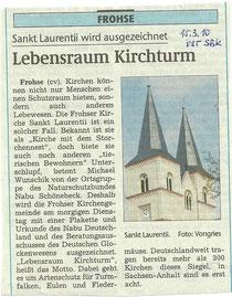 Die Kirche St. Laurentii in Schönebeck-Frohse wurde 2010 ausgezeichnet - Ankündigung in der Volksstimme Schönebeck vom 15.03.2010