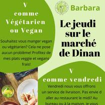 Jeudi des plats vegan et végétarien sur le marché de DINAN