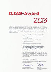 Urkunde Auszeichnung mit ILIAS eLearning Award 2013