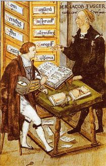 """Jakob Fugger (rechts) mit seinem Hauptbuchhalter Matthäus Schwarz in der """"Goldenen Schreibstube"""""""
