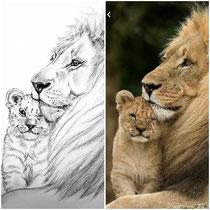 Original Foto und Zeichnung