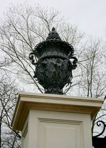Architectural wrought iron Urn. Estate Gates Pillons. Toronto. ON.
