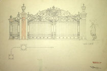 Ornamental driveway gates. Hand drawing  design. Oleg Shyshkin