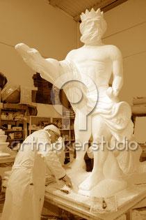 Talla en porex escultura Neptuno por Artmakerstudio. Madrid