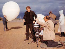 Behind the scenes with Patrick McGoohan as The Prisoner, and his co-star, Rover, the omnipresent balloon sentry!