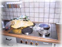 Herd vergessen auszuschalten, Kunststoff und Tücher angebrannt